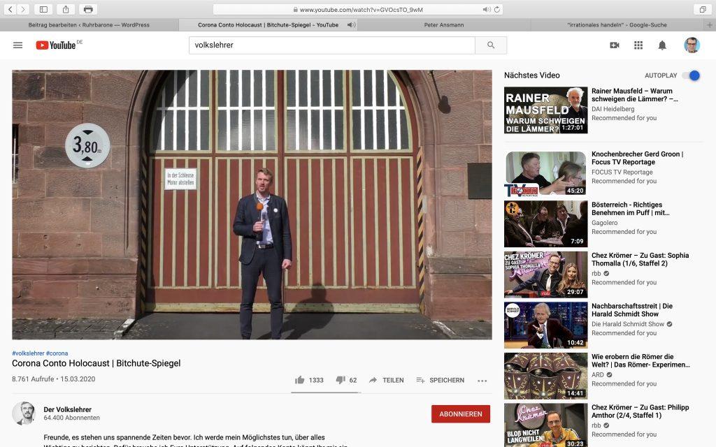 "Corona Conto Holocaust: Der ""Volkslehrer"" mal wieder; Screenshot Volkslehrer.info"