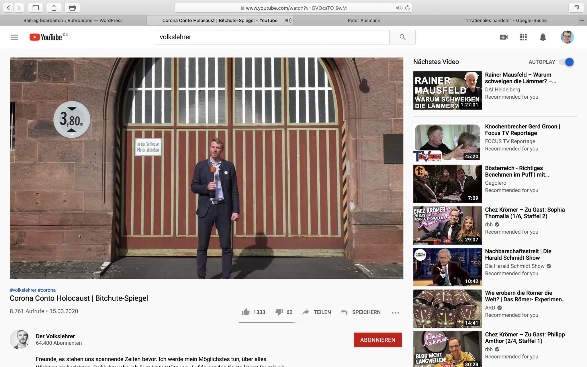 "Corona Conto Holocaust: Der ""Volkslehrer"" mal wieder; Screenshot"