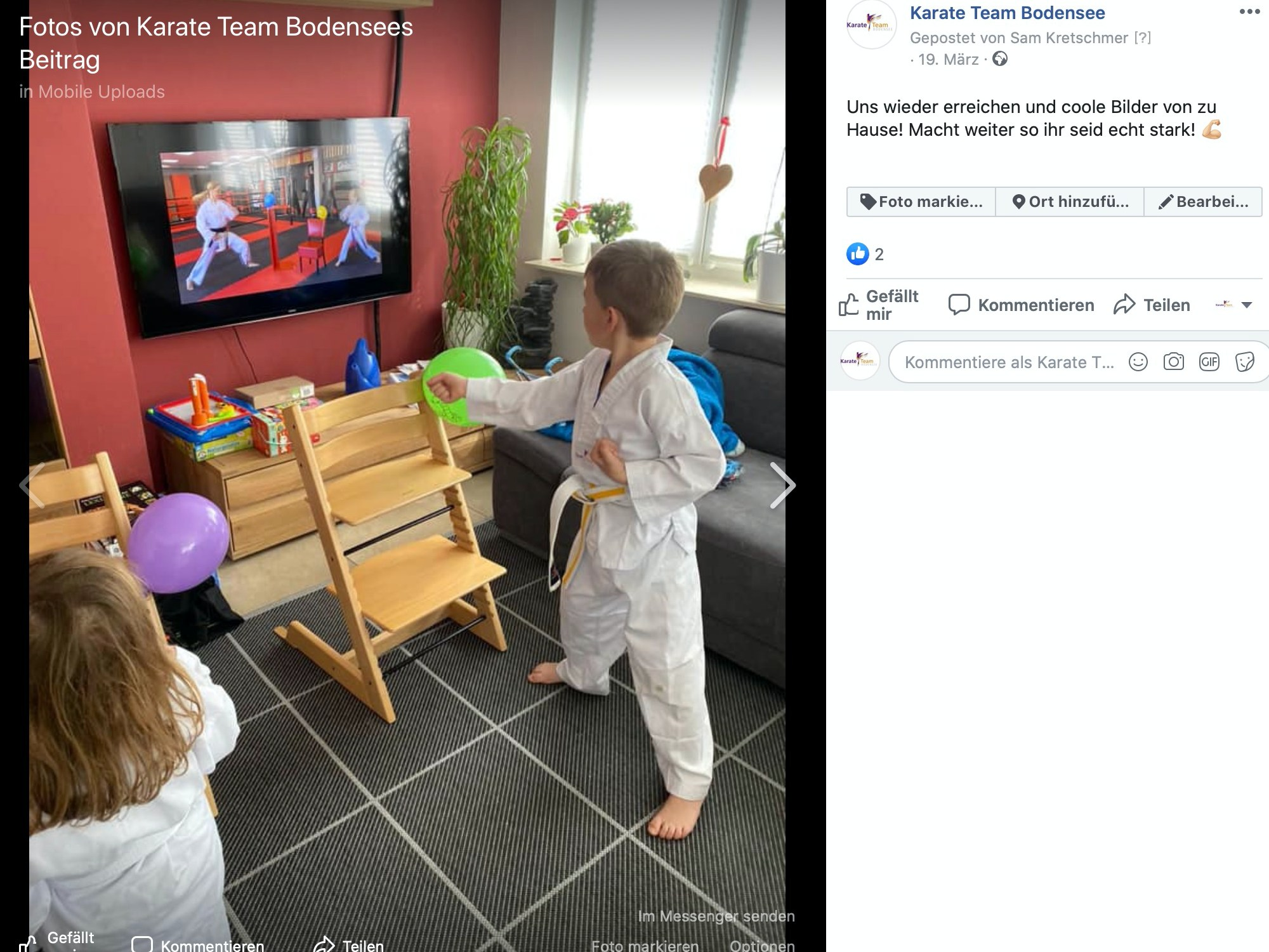 Feedback auf der Facebookseite vom Karate-Team Bodensee; Screenshot Facebook