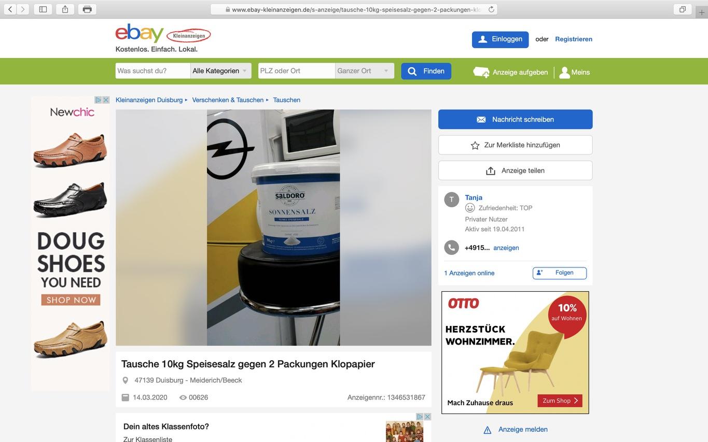 Ebay-Kleinanzeigen: Tausch 10kg Speisesalz gegen 2 Packungen Klopapier; Screenshot