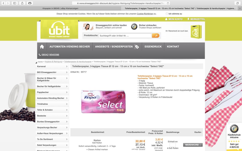 48 Rollen Toilettenpapier, 3lagig: 27,13 Euro: Da kann man nicht meckern; Screenshot