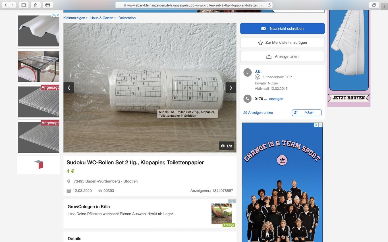 Schnäppchen: Sudoku-Klopapier: 2 Rollen / 4 Euro; Screenshot