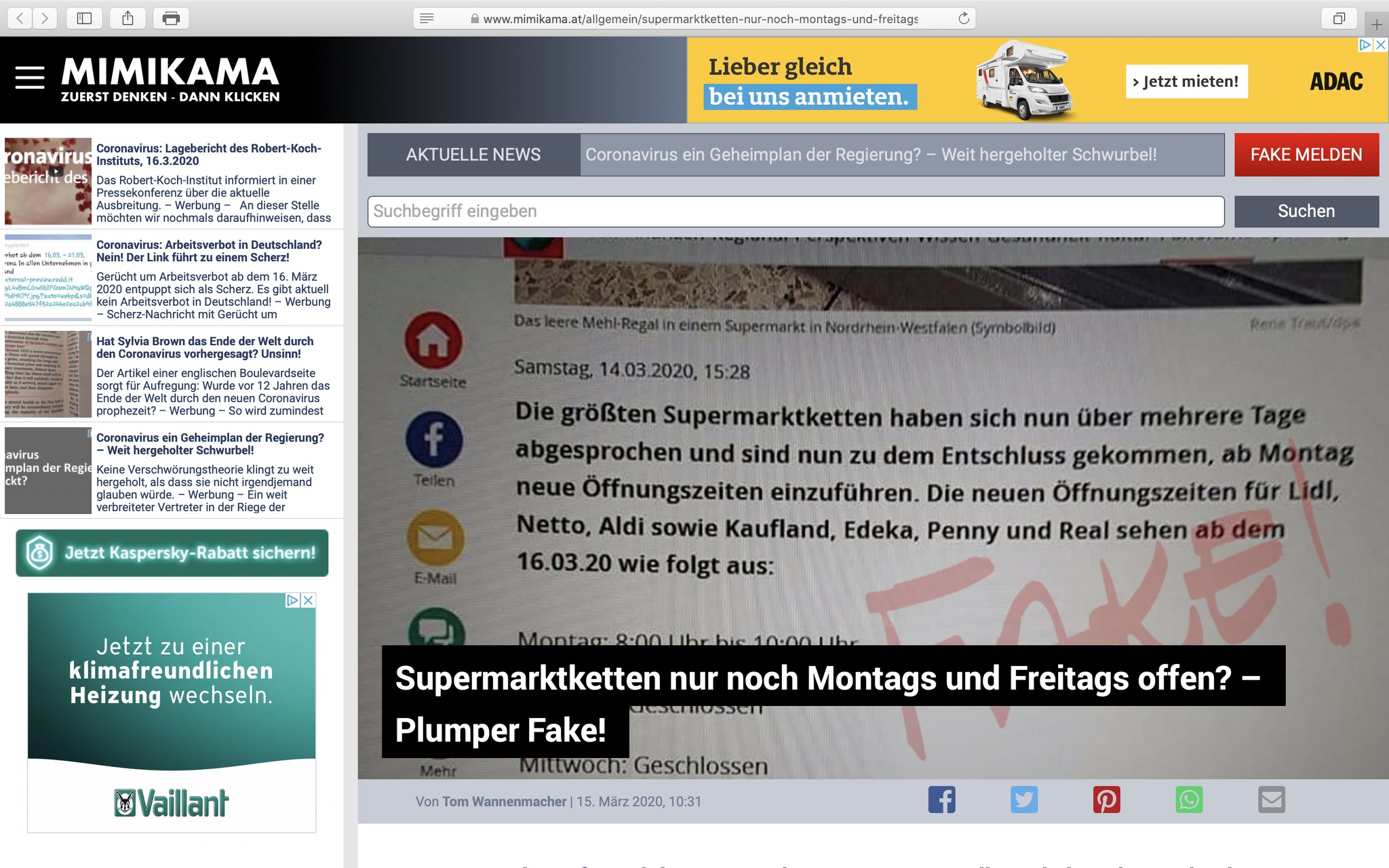Mimikama.at klärt auf: Supermärkte bleiben geöffnet; Screenshot
