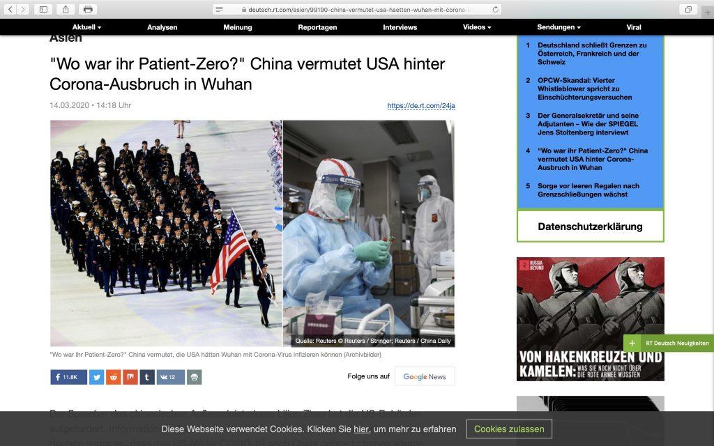 Russische Propaganda - Hauptsache gegen den Westen schießen; Screenshot