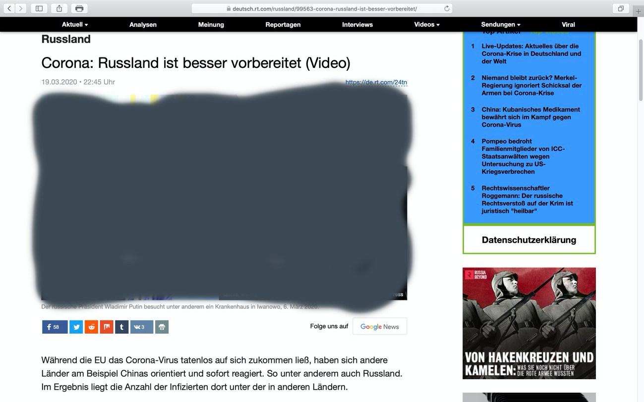 """""""Russland ist besser vorbereitet""""; Screenshot RT Deutsch"""