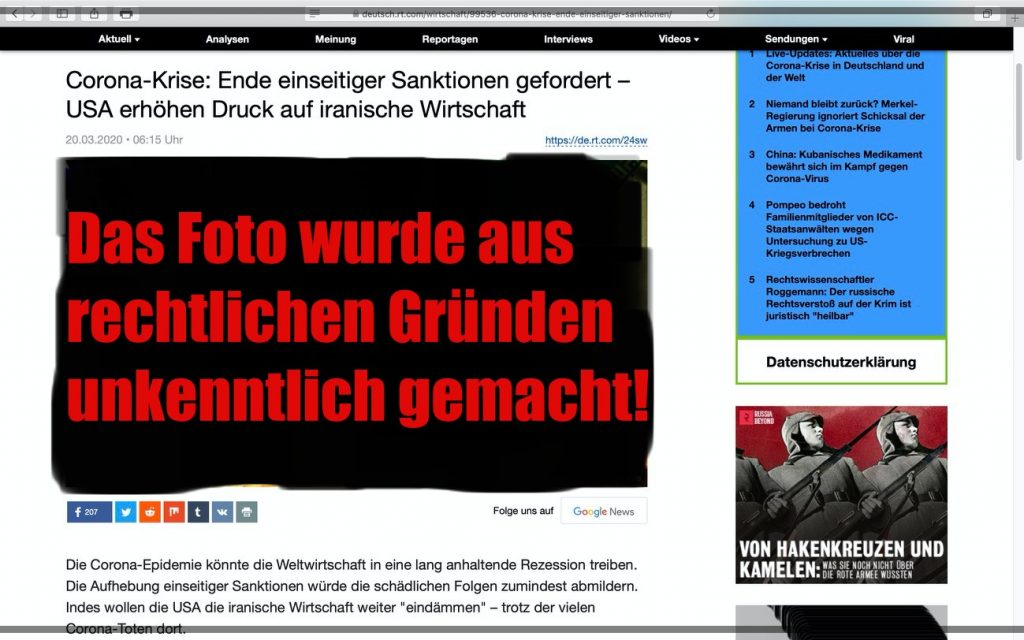 """Infam Unterstellung: Der Westen trägt Schuld an der Lage im Iran; Screenshot <a href=""""https://bit.ly/2J1i8qn"""" target=""""_blank"""" rel=""""noopener noreferrer"""">RT Deutsch</a>"""