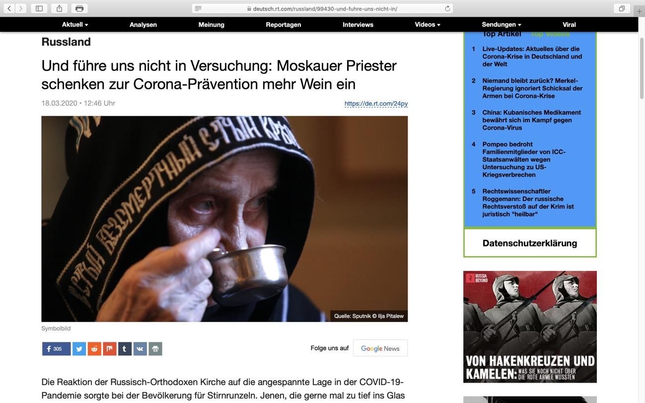 Prost! Wein ist kein Mittel gegen das Virus: Screenshot RT Deutsch