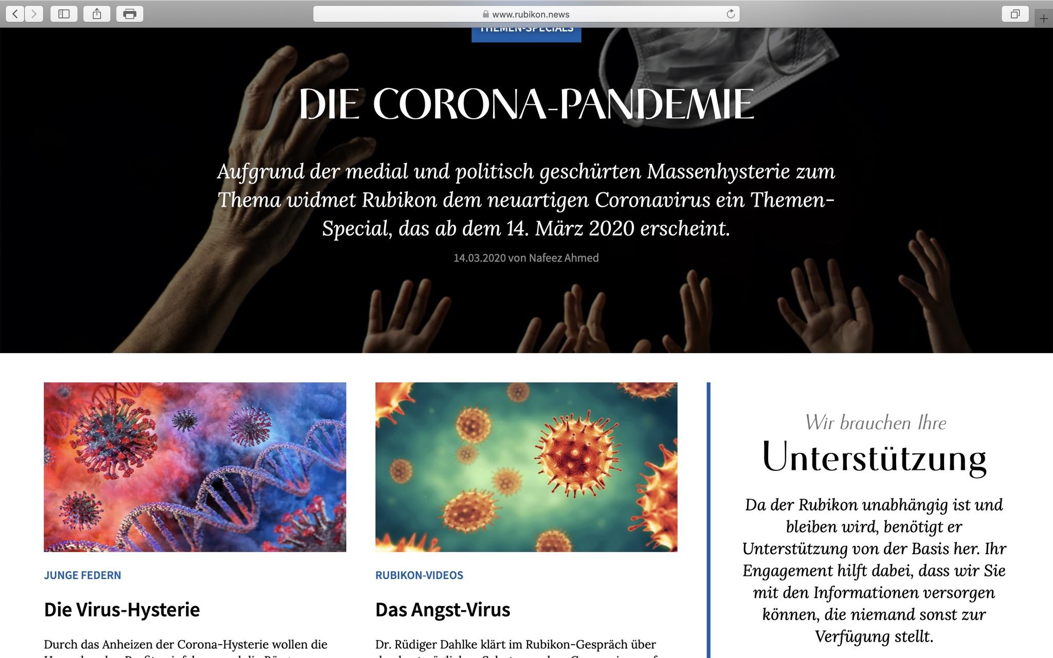 Zweifelhafte Aussagen zur Pandemie: Auf rubikon.news; Screenshot