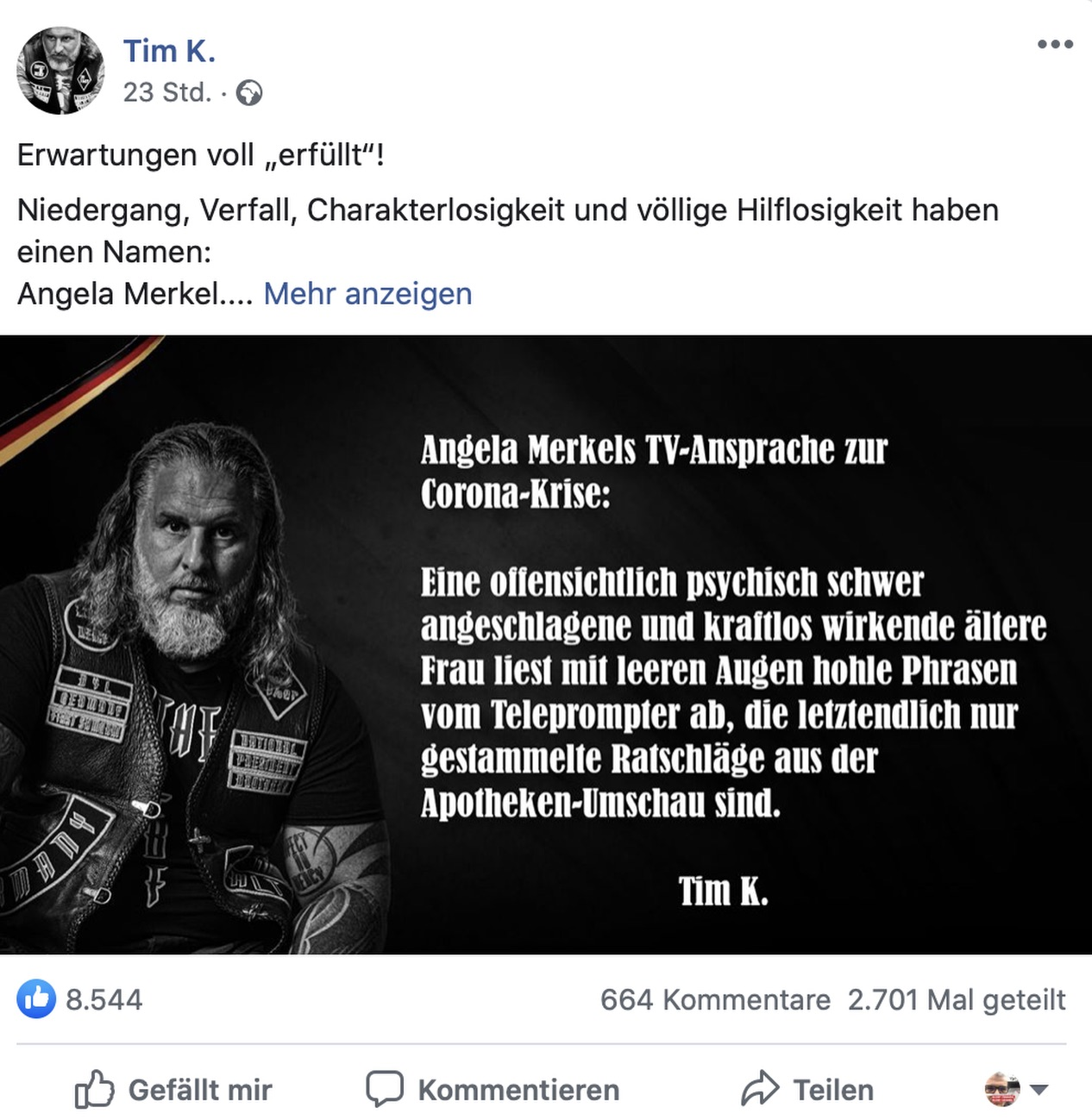 Tim K. - beliebt bei Rechtsradikalen und Verschwörungstheoretikern; Screenshot Facebook