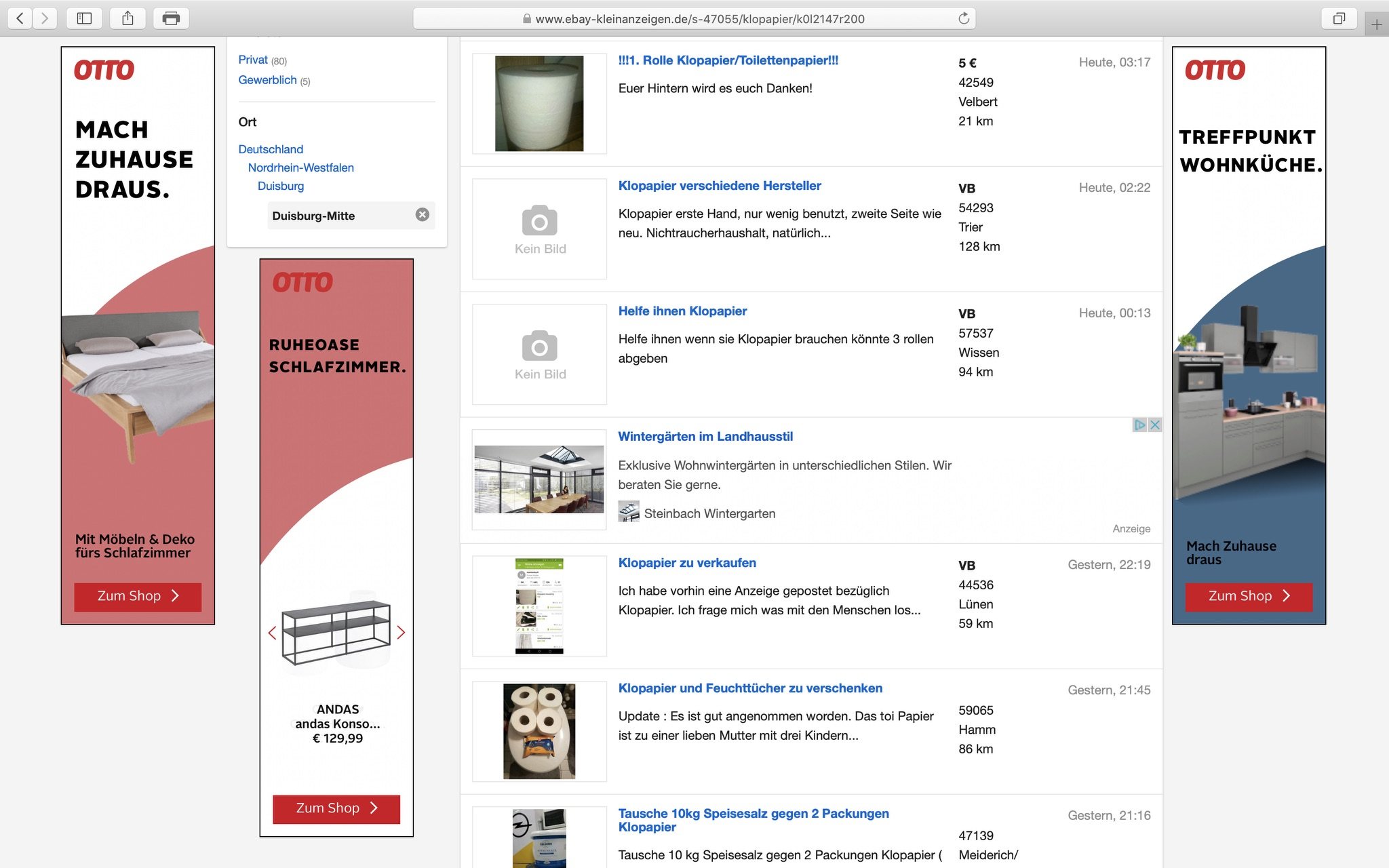 Ebay-Kleinanzeigen: Toilettenpapier ist gefragter denn je...