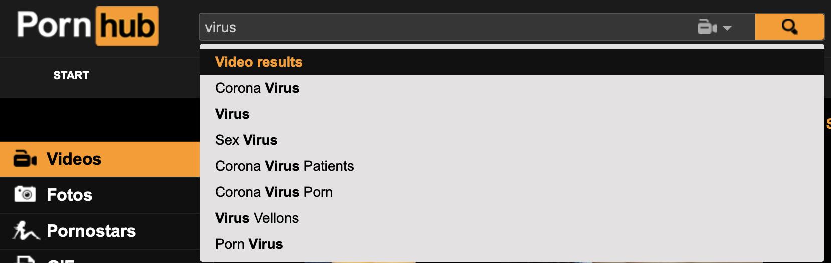 """Suchbegriff: """"Virus"""" - Interessante Vorlieben bei der Suche; Screenshot: Pornhub"""