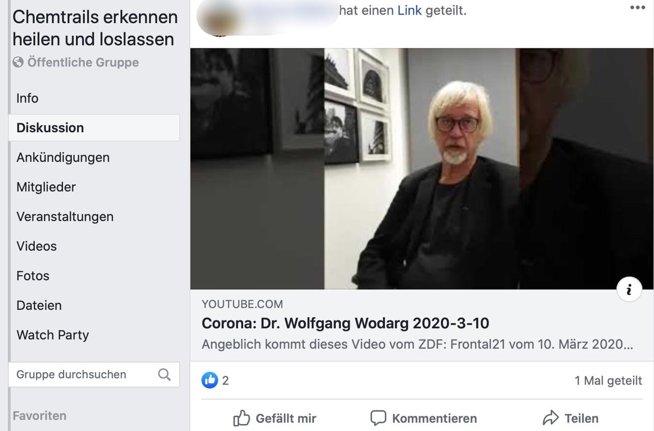 """Format von zweifelhaftem Ruf: Auf der Facebook-Seite """"Chemtrails erkennen, heilen und loslassen"""" sind die Ansichten von Dr. Wolfgang Wodarg beliebt; Screenshot Facebook"""