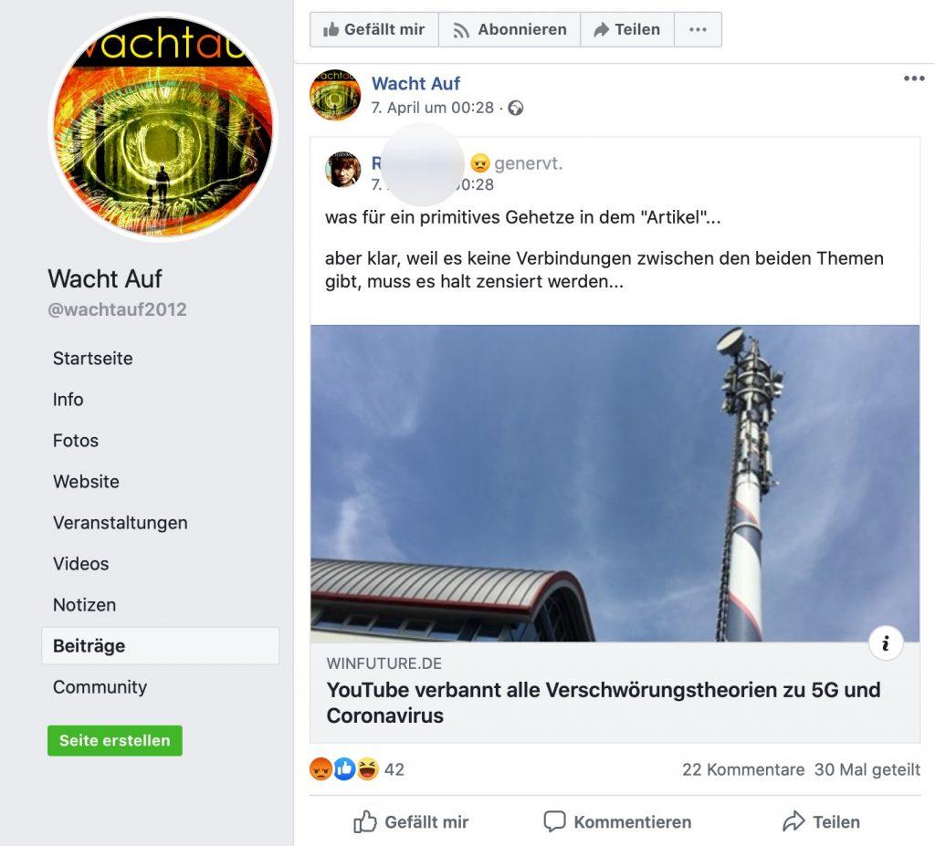 Regulierung von Bullshit ist natürlich ein rotes Tuch für Verschwörungstheoretiker; Screenshot Facebook