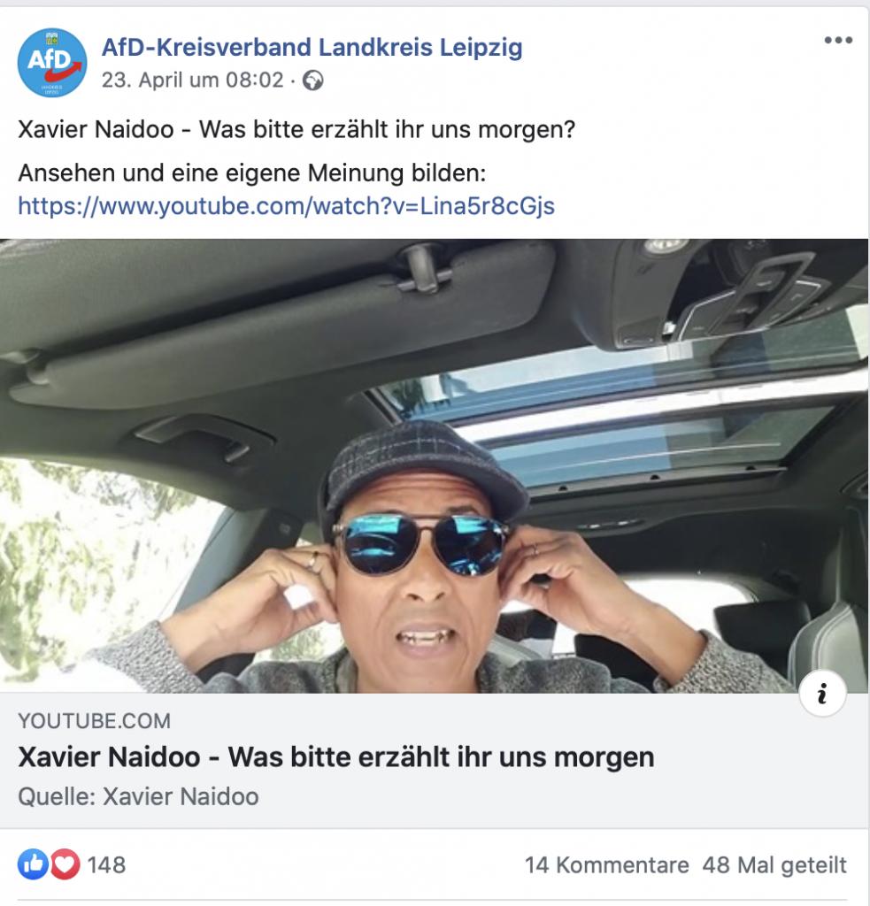 Xavier Naidoo, bei der AfD sehr beliebt; Screenshot Facebook