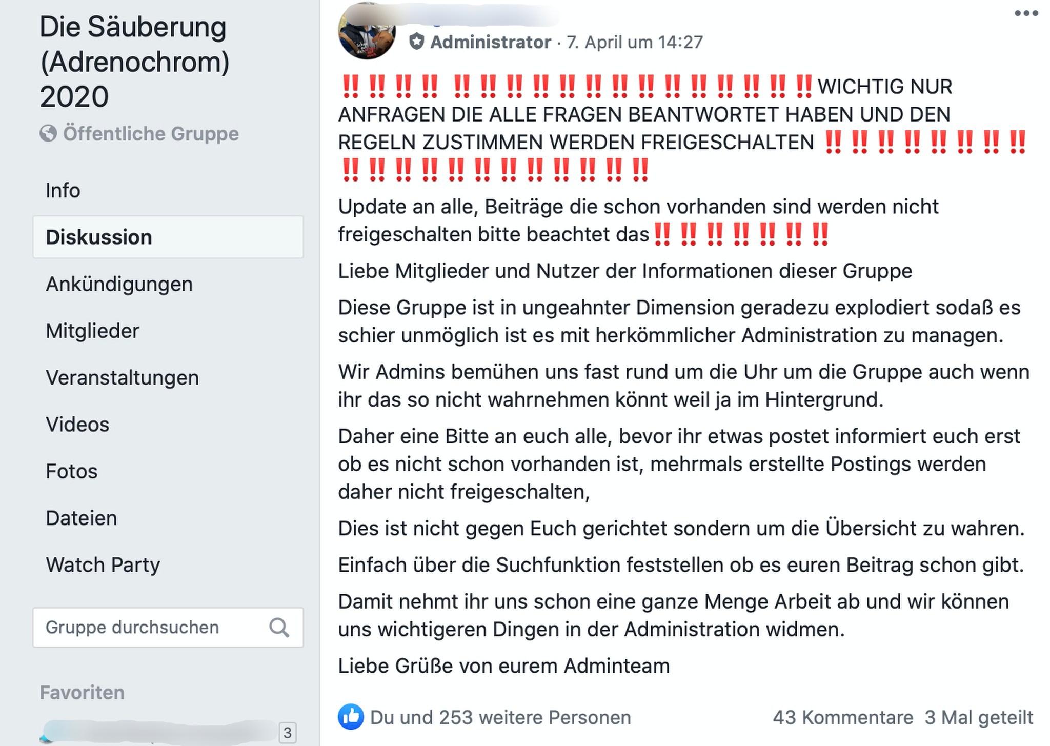 """Viele Zulauf in der FB-Gruppe """"Die Säuberung (Adrenochrom) 2020""""; Screenshot Facebook"""