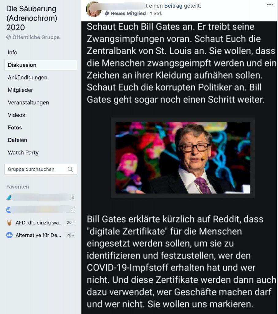 Zwangsimpfungen und Bill Gates; Screenshot Facebook