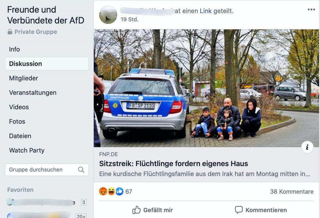 Alte News als neue verkaufen: Freunde und Verbündete der AfD; Screenshot Facebook
