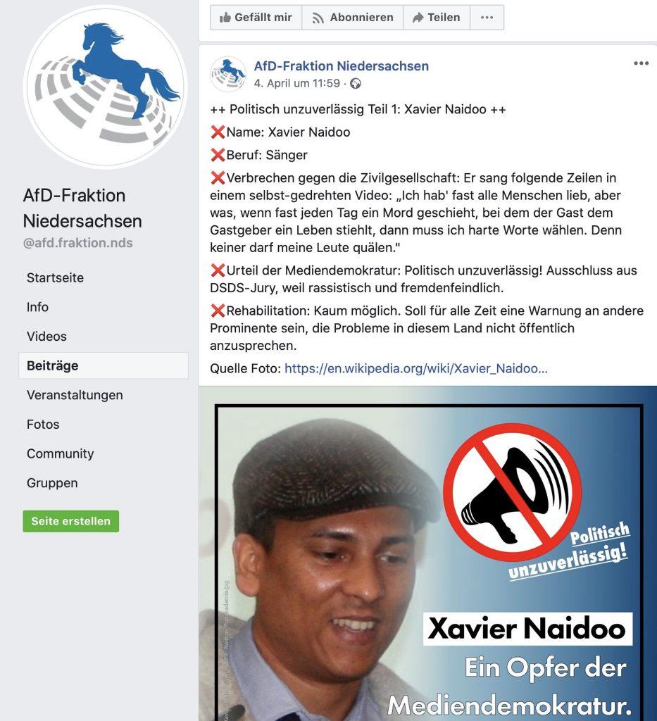 Xavier Naidoo - Ein Opfer der Mediendemokrotur; Screenshot Facebook