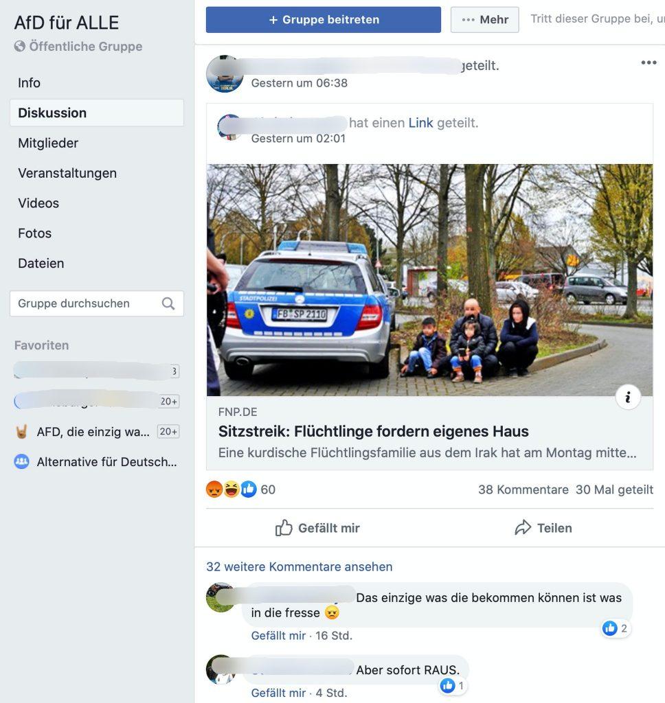 Kommentare eskalieren: Wegen einem Artikel auf dem Jahre 2016; Screenshot Facebook