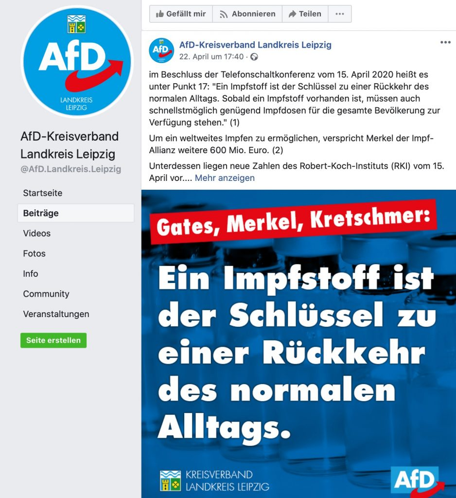 """Gates, Merkel, Kretschmer"" - böse Impflobby; Screenshot Facebook"