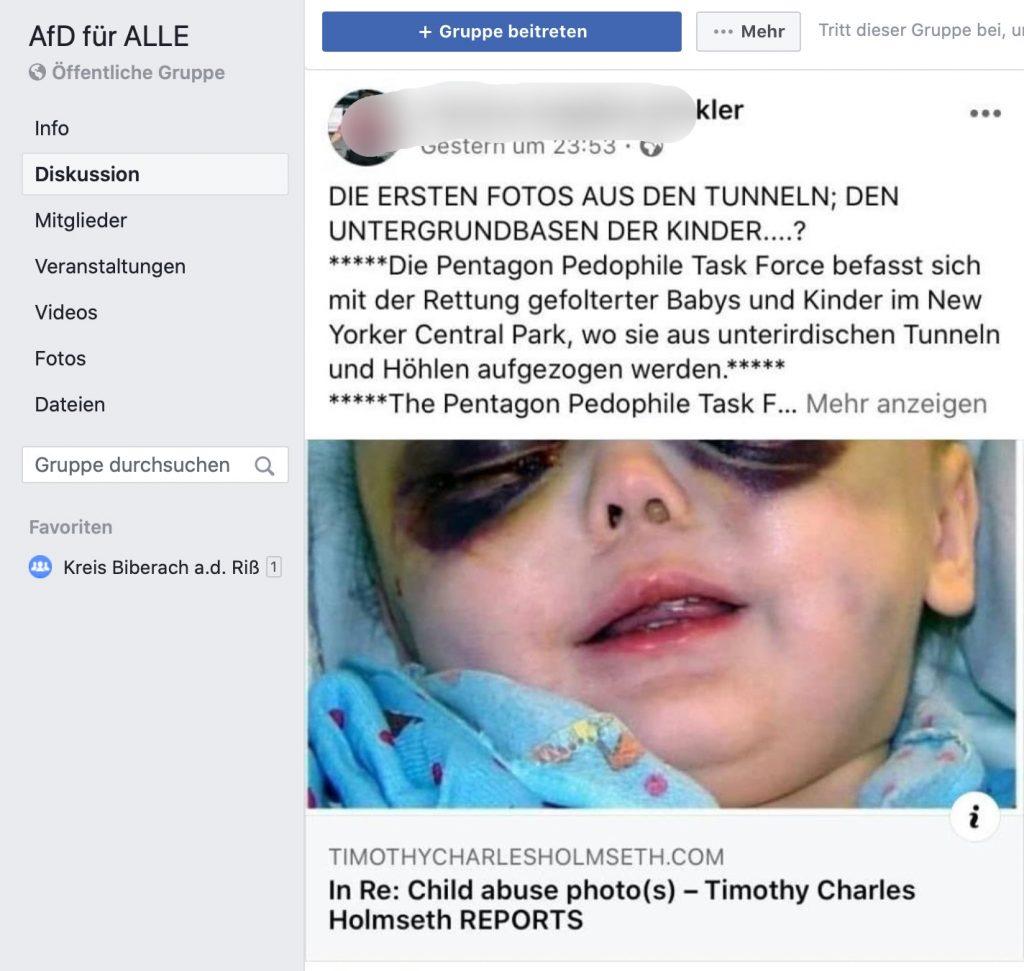 """Pizza Gate"" recycled @ ""AfD für ALLE""; Screenshot Facebook"