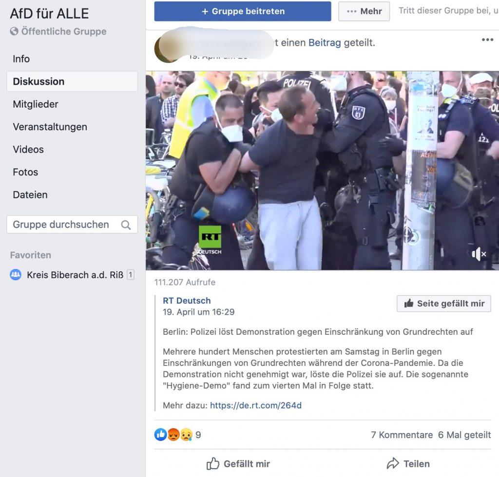 Putins Propagandasender RT: So informiert sich die AfD; Screenshot Facebook