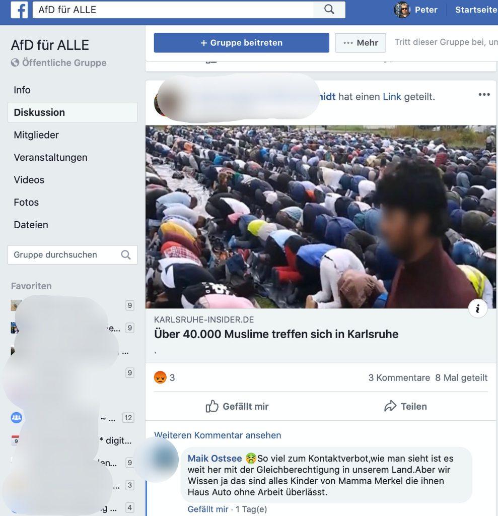 Kontaktverbot und Muslime: Das Treffen fand 2019 statt; Screenshot Facebook