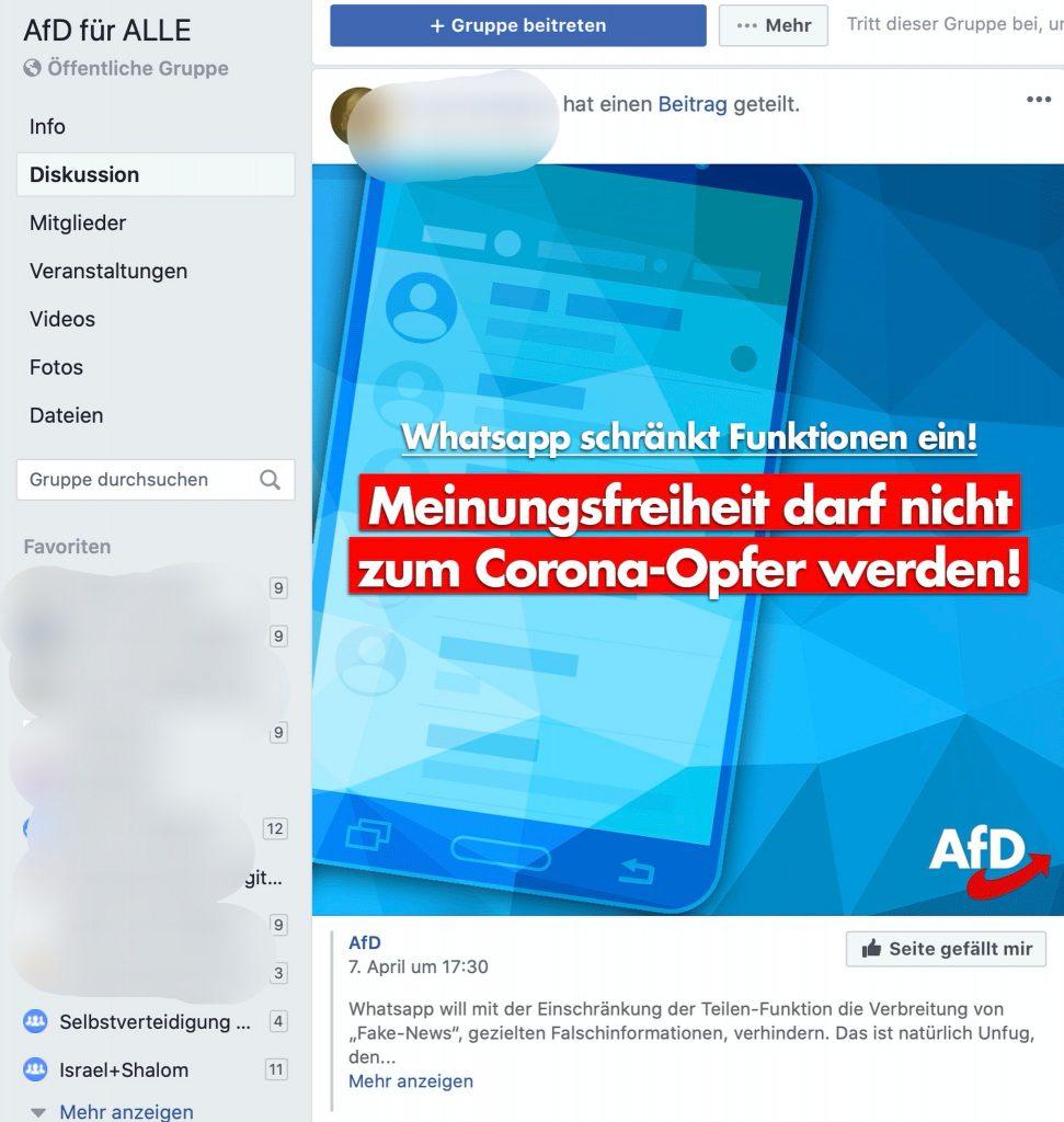 Die AfD ist nicht begeistert: Fake News werden beschränkt; Screenshot Facebook