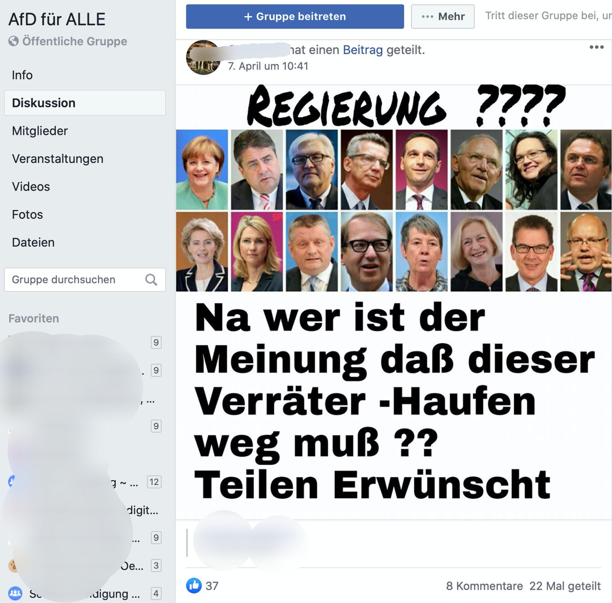 Fröhliche Hetze bei der AfD; Screenshot Facebook