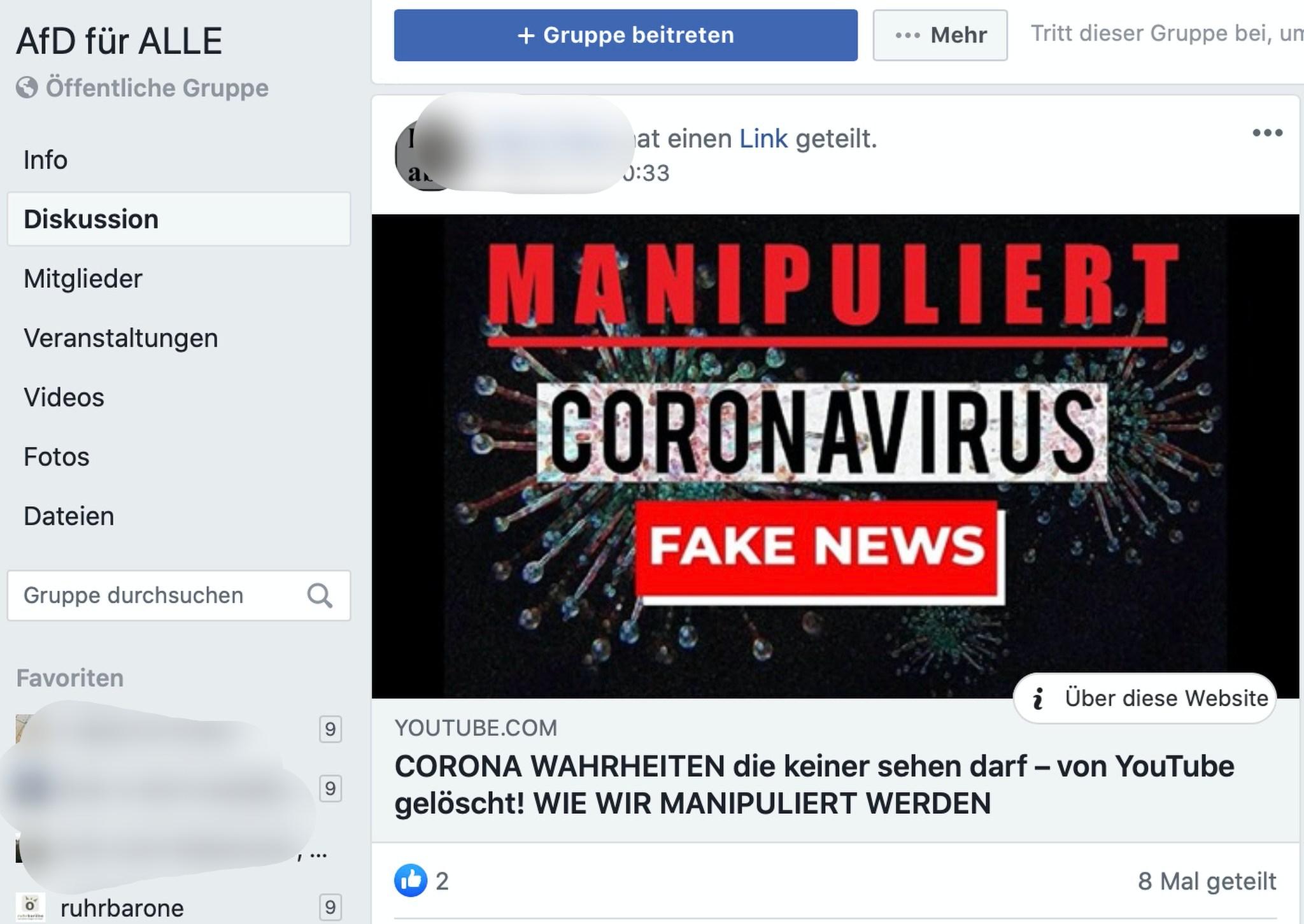 """Fake News verlinkt in der AfD Gruppe """"AfD für ALLE""""; Screenshot Facebook"""