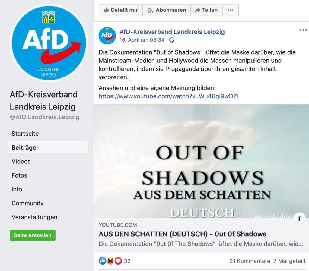 Extremer Verschwörungsblödsinn bei der AfD; Screenshot Facebook