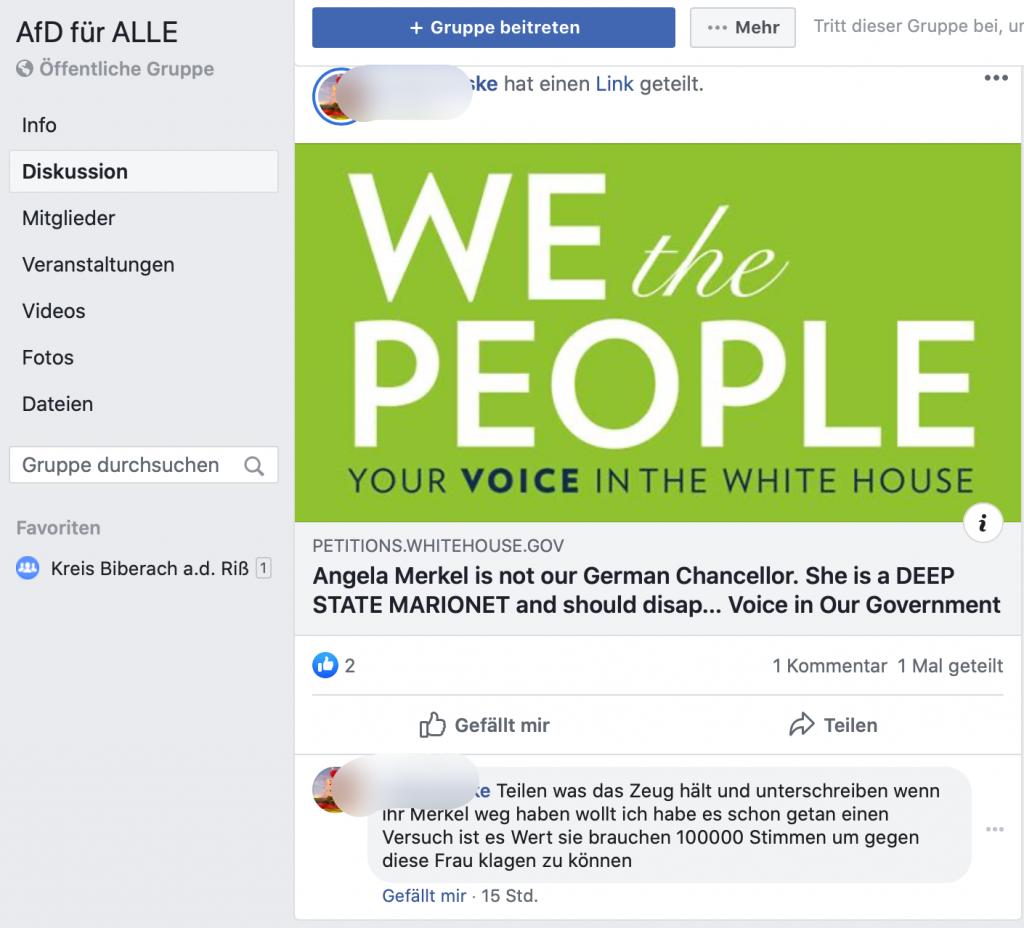 Petitionen an das Weiße Haus: Die AfD setzt auf Trump; Screenshot Facebook