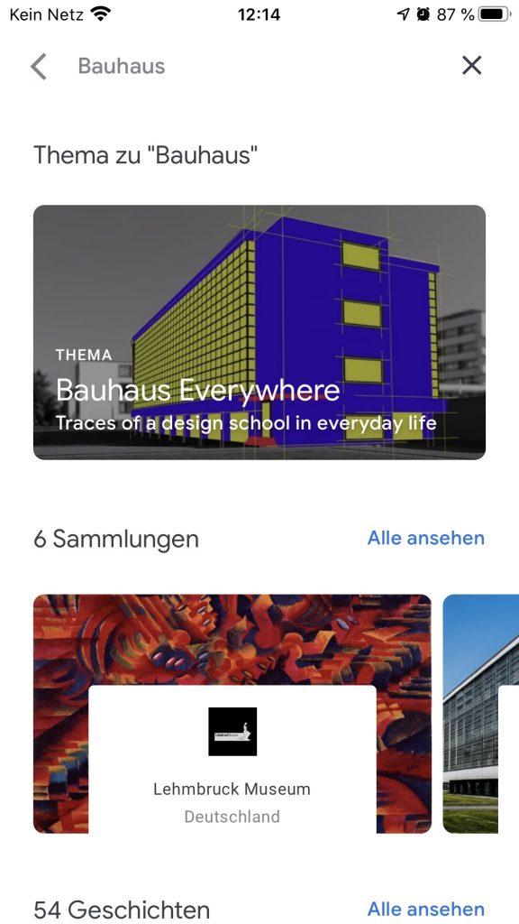 Ob das Bauhaus in Berlin oder das Lehmbruck Museum in Duisburg; Es gibt reichlich Auswahl; Screenshot artsandculture.google.com