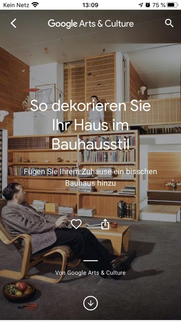 Update für das eigene Heim: Bauhaus @ Home; Screenshot artsandculture.google.com