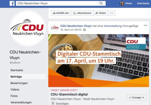 Hinweis auf Facebook: CDU-Stammtisch digital; Screenshot Facebook