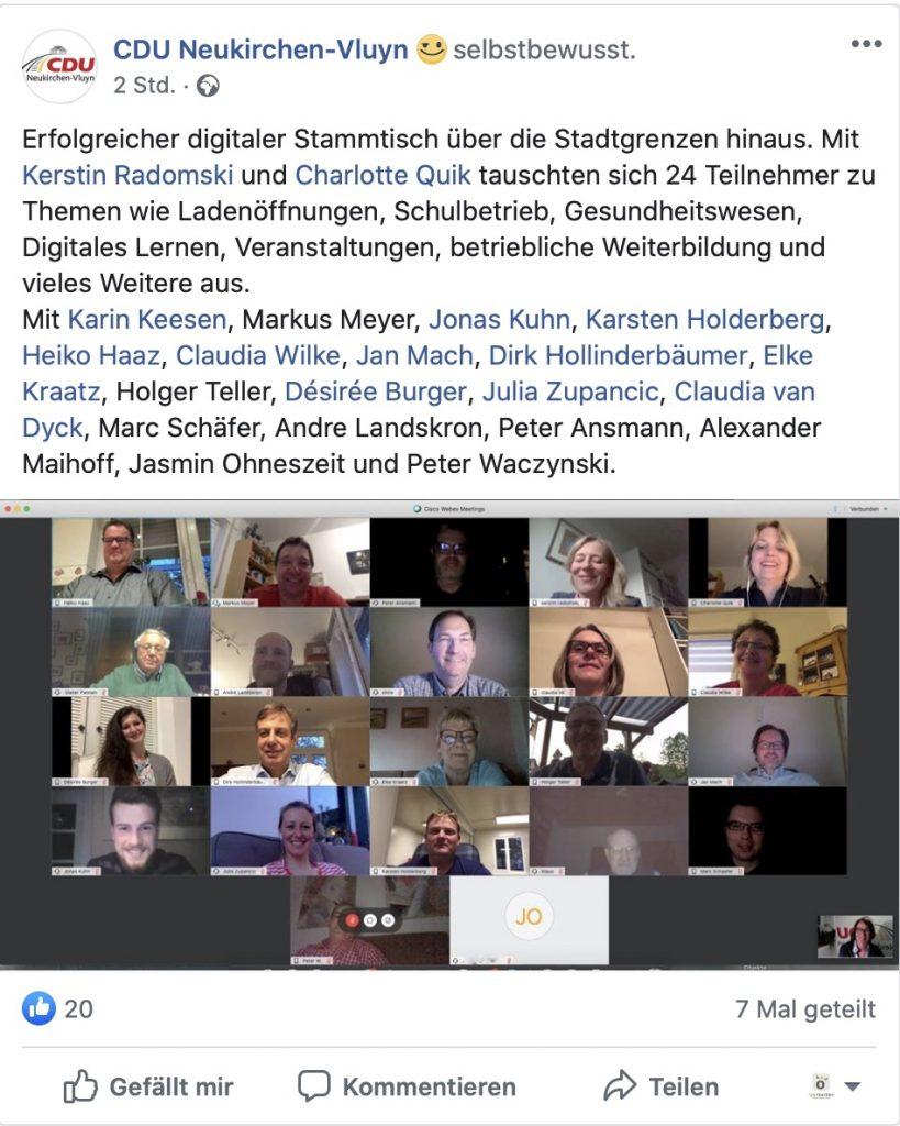 Rege Teilnahme: 24 Teilnehmer beim digitalen Stammtisch der CDU Neukirchen-Vluyn; Screenshot Facebook