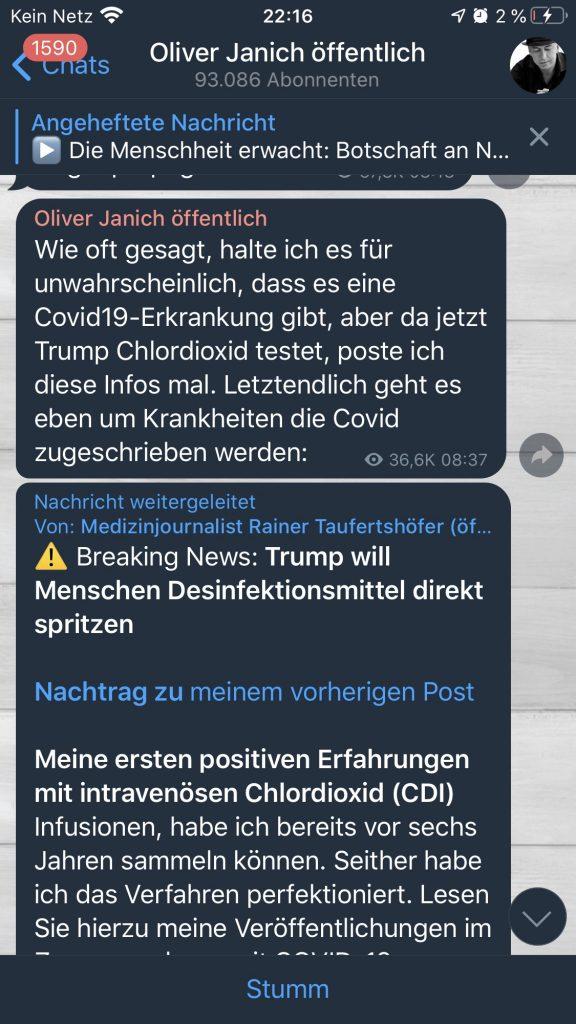 Janich regelt: Desinfektionsmittel gegen COVID-19; Screenshot Telegramm