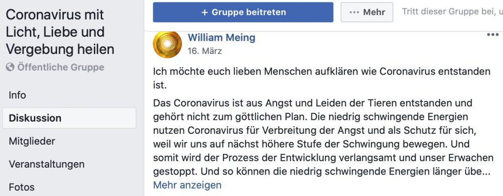 Coronavirus mit Licht, Liebe und Vergebung heilen; Screenshot Facebook