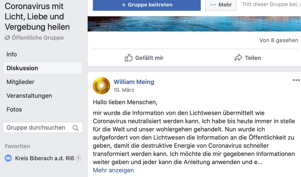 Prima Plan: Mit den Lichtwesen erfolgreich gegen das Corona-Virus kämpfen; Screenshot Facebook
