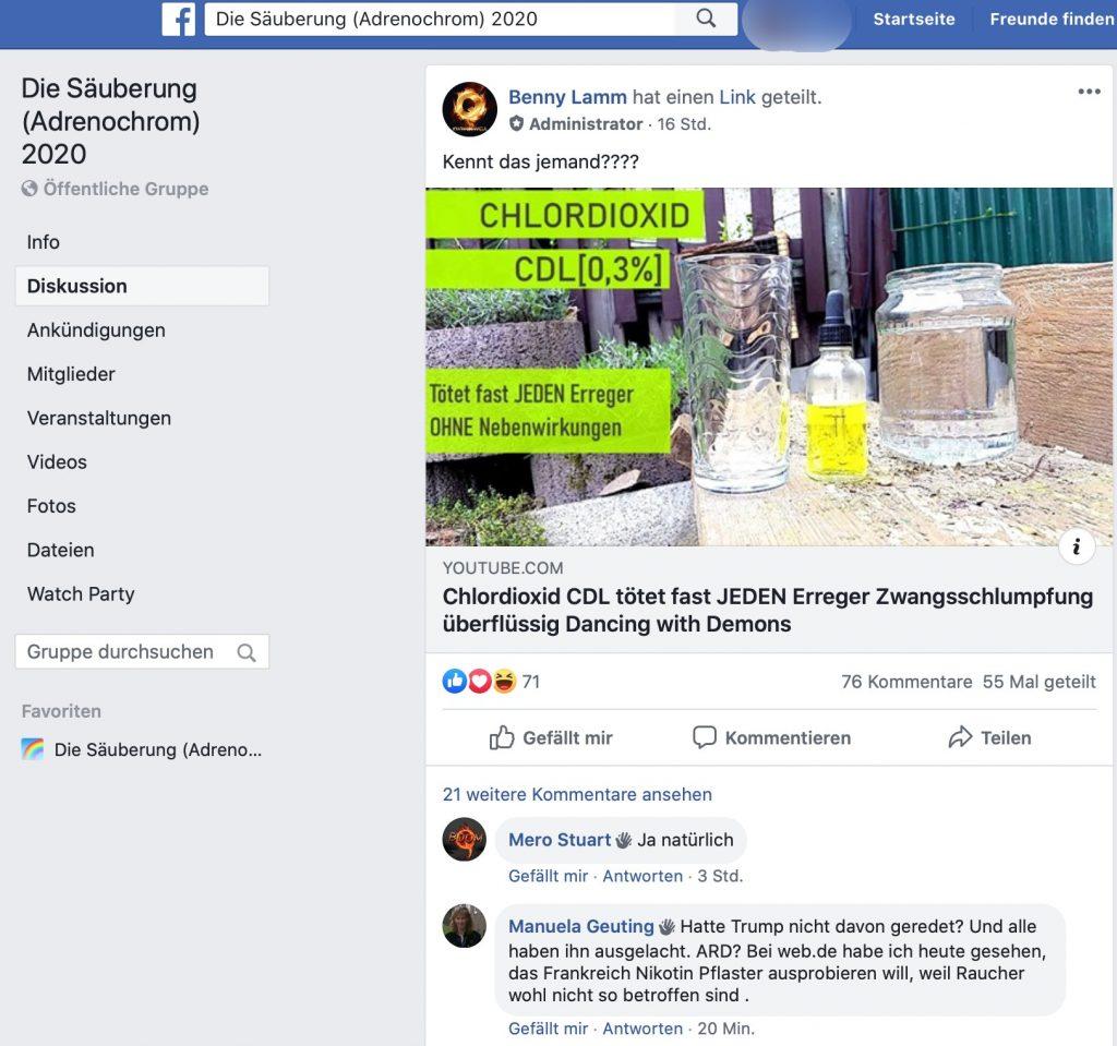 Evolution regelt: Aluhüte raten zu Chlordioxid; Screenshot Facebook