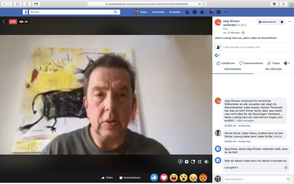 """Dr. Mario Ludwig liest aus seinem Buch """"Mein Leben als Dosenöffner"""" vor; Screenshot Facebook"""