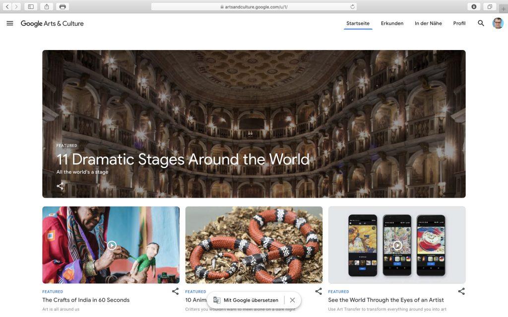 Virtuelle Museumstouren und jede Menge Information aufGoogle Arts & Culture