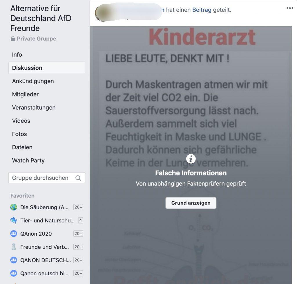 """Fake-News in der AfD Gruppe """"Alternative für Deutschland AfD Freunde""""; Screenshot Facebook"""
