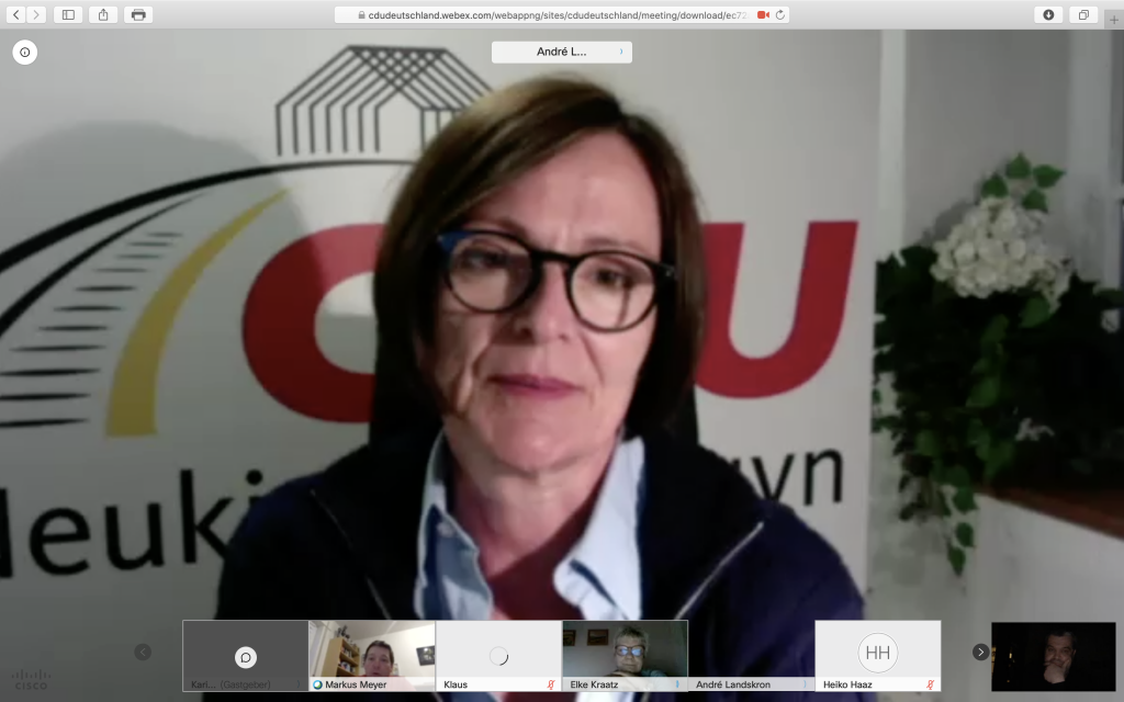 Karin Keesen, Vorsitzende der CDU in Neukirchen-Vluyn; Screenshot cdudeutschland.webex.com