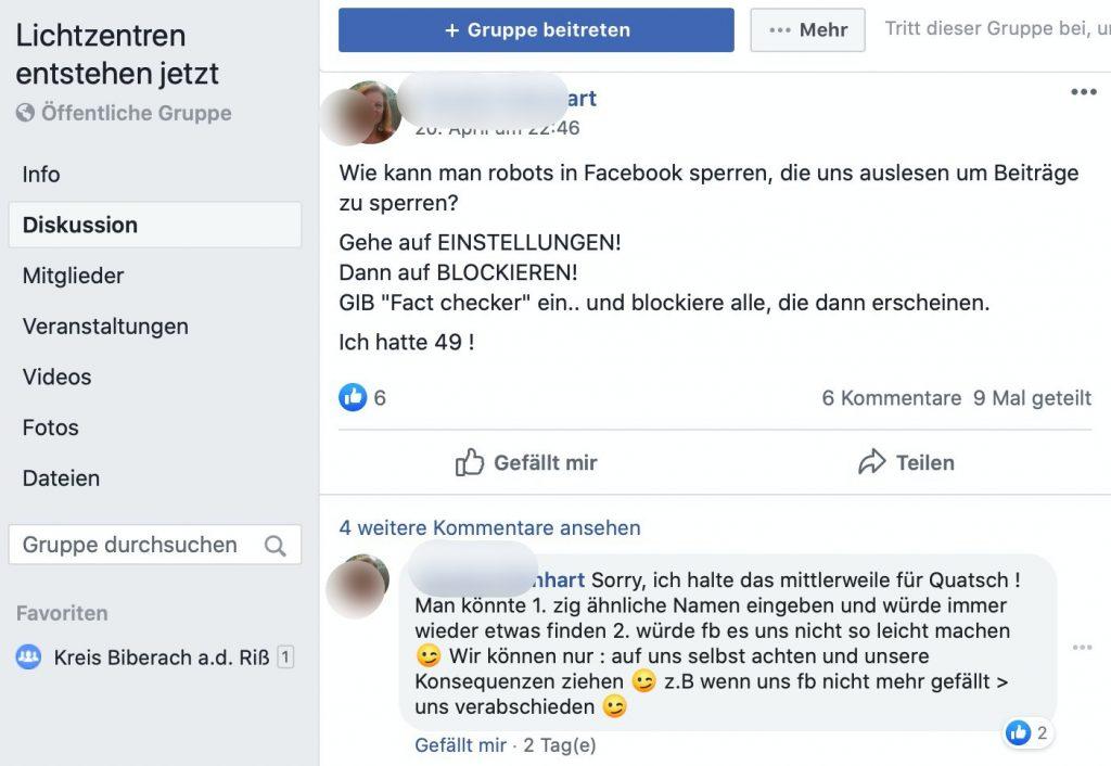 Lichtzentren entstehen jetzt: Eine Gruppe, so vielversprechend wie ihr Titel; Screenshot Facebook