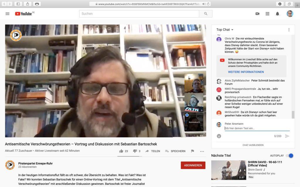 Sebastian Bartoschek über antisemitische Verschwörungstheorien; Screenshot YouTube