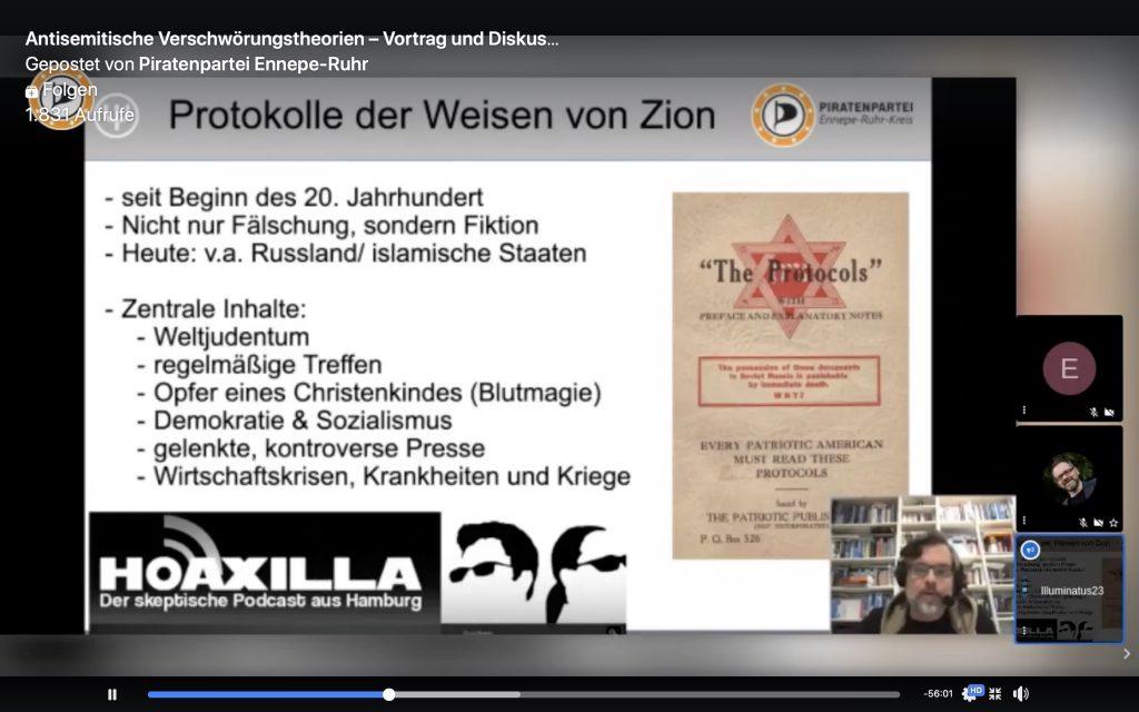 """Sebastian Bartoschek klärt über die """"Protokolle der Weisen von Zion"""" auf; Screenshot YouTube"""