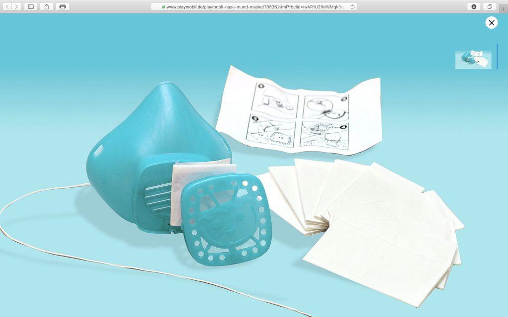 Die wiederverwendbare PLAYMOBIL-COVID19-Schutzmaske für Erwachsene; Screenshot Playmobil.com