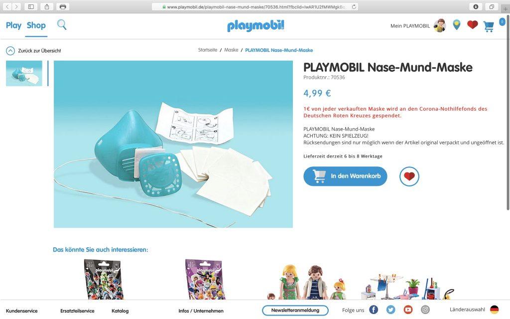 Die COVID-19-Schutzmaske für Mund und Nase; Screenshot playmobil.com