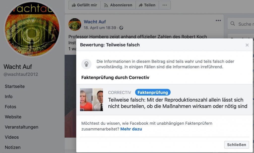 Fakenews-Alarm: Kommt häufiger in auf Aluhut-Seiten vor; Screenshot Facebook